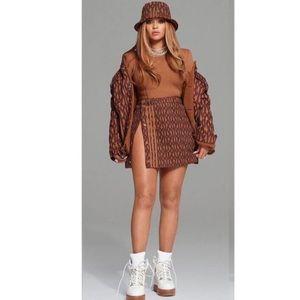 NWOT Adidas x Ivy Park Monogram Skirt Wild Brown